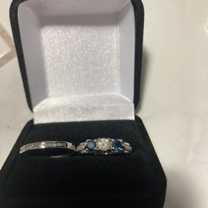 WAS $6,100!! ASKING $1,100!! RARE BLUE AND WHITE DIAMOND ENGAGEMENT RING AND DIAMOND WEDDING BAND WITH CERTIFIED APPRAISAL 14KT WHITE GOLD for Sale in Providence, RI