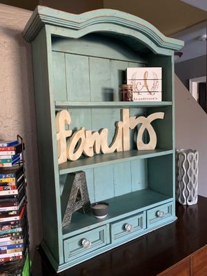 Farm style distressed book shelf with 3 small drawers for Sale in Queen Creek, AZ