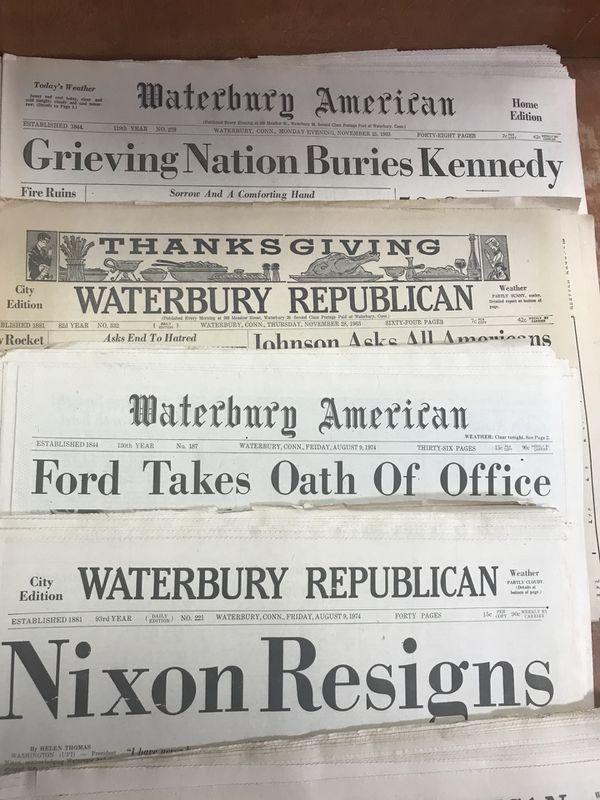 Vintage 1960's Waterbury Republican Americans JFK Death newspaper lot of 22  for Sale in Waterbury, CT - OfferUp