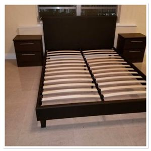 Brand new full or queen leather bed frame with 2 nightstands for Sale in Miramar, FL