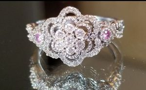 Stunning Custom Made Vintage Estate 10K white gold genuine diamond and pink topaz ring size 7 for Sale in Lake Stevens, WA