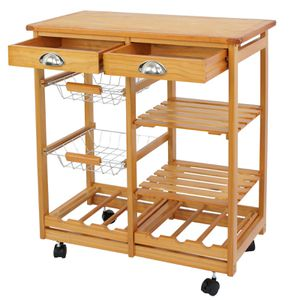 Durable Rolling Wood Kitchen Island Trolley Cart Dining Storage Drawers Stand for Sale in Arlington, TX
