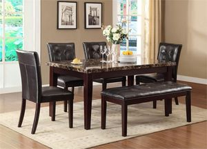 Dining table set Bench Chairs Marble Brown for Sale in Baltimore, MD