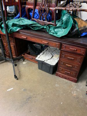 Double Sided Cherry Wood Desk w/ Glass Too for Sale in La Habra, CA