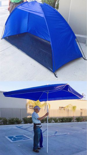 New SET OF 2 ITEMS for $35 7x3 feet beach tent sun shade and 6.5x6.5 feet beach umbrella with carrying bags for Sale in Covina, CA