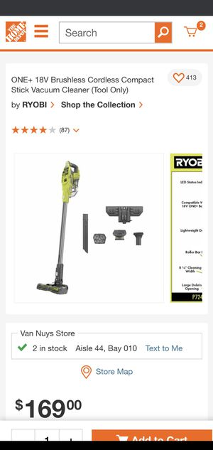 ONE+ 18V Brushless Cordless Compact Stick Vacuum Cleaner (Tool Only) by  RYOBI for Sale in Los Angeles, CA