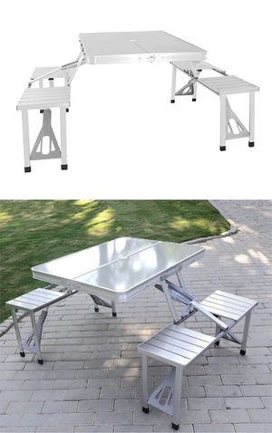 New $65 Aluminum Folding Picnic Table Portable Outdoor Suitcase Camping Table 4 Seats Bench for Sale in Whittier, CA