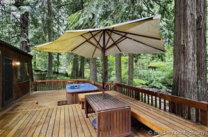Ikea deck and patio wooden table can include umbrella for Sale in Portland, OR
