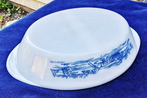 Glasbake kitchen milk glass royal china currier & Ives divided vegetable dish - MINT ! for Sale in Saginaw, MI