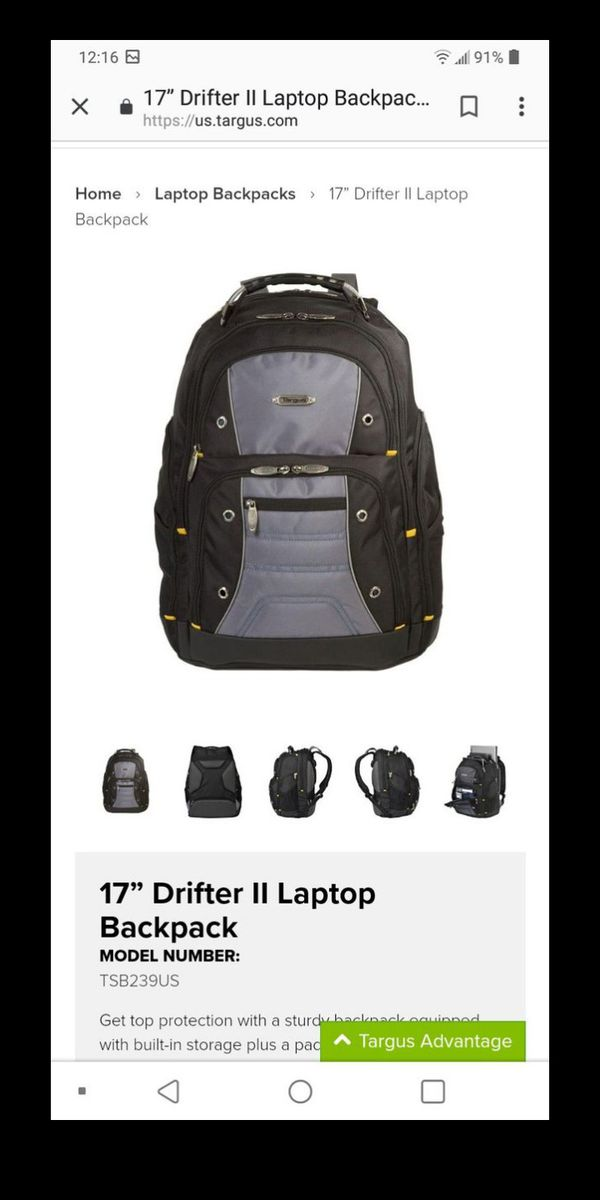 Targus drifter 2 laptop backpack great storage perfect for school college