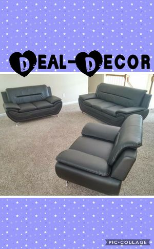 Black 3 Piece Sofa Set for Sale in Marietta, GA