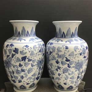 Pair Of Vintage Chinese Hand Painted Blue and White Porcelain Vases for Sale in Kennesaw, GA