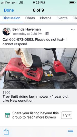 Troy riding lawn mower barely used for Sale in Phoenix, AZ