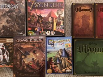 Board Games: GloomhavenJOTL, Parks,Villainous,7 Wonders,Ethnos,Carcassonne for Sale in Kirkland,  WA