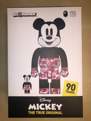 Bape A bathing Ape x Bearbrick x Mickey Mouse 400% & 100% red camo for Sale in Portland, OR