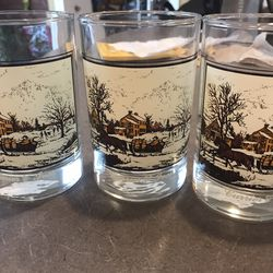 Vintage Currier And Ives Glasses for Sale in West Chicago,  IL