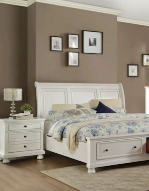 Special for Black Friday ‼ SALES Laurelin White Storage Platform Sleigh Bedroom Set for Sale in Jessup, MD
