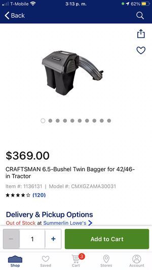 CRAFTSMAN 6.5bushel Twin Bagger 42/46 in tractor for Sale in Las Vegas, NV