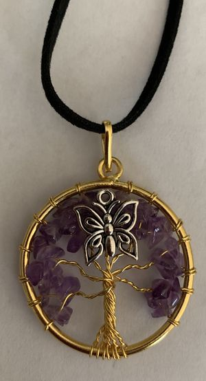 Jewelry Amethyst gold plated butterfly tree of life with chain or leather cord! for Sale in Worcester, MA