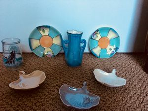 Carnival Glass Party-Lite candle holders & collectible adorable miniature plates - trinkets for Sale in Lake Oswego, OR
