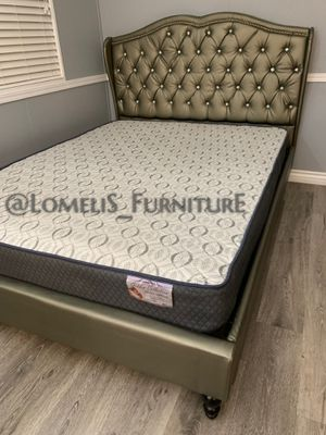 Cal King Silver Tufted Bed w. Supreme Orthopedic Mattress Included for Sale in Los Angeles, CA