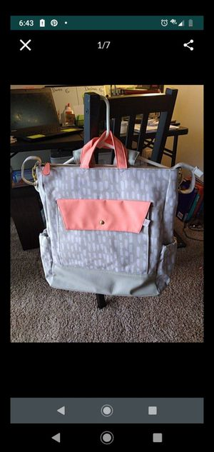 Oh joy! Diaper backpack grey/salmon color . With changing pad for Sale in Denver, CO