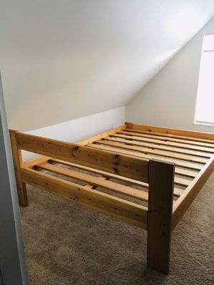 Full size bed frame solid oak for Sale in Seattle, WA