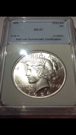 RARE MS67 Peace Dollar- Super Rare High Grade- Greysheet $8,120 Value- Listed at $500 for 24 Hours Only! for Sale in Arlington, VA