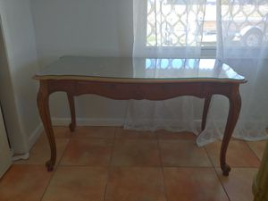 Wood with glass top table/desk for Sale in Lake Wales, FL