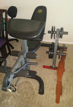 Weight bench with Olympic weights with weight tree for Sale in Deerfield Beach, FL