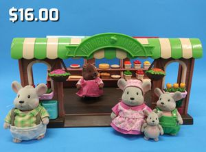 Li'l Woodzeez Playset Hoppin' Farmers Market Toy Market Set w/Play Food 5 figures for Sale in Oakland, CA