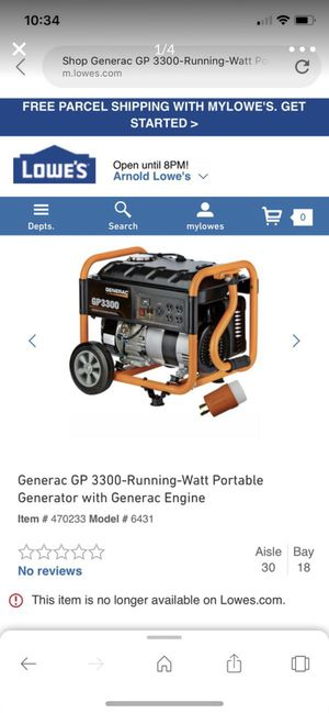 Generac GP 3300-Running-Watt Portable Generator with Generac Engine for Sale in St. Louis, MO