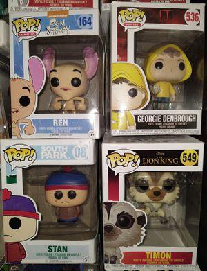 Funko Pop: Ren 164; George Denbrough 536; Stan 08; Timon 549 for Sale in El Paso, TX
