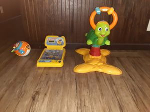 Vtech bouncing turtle, miniature minion pinball machine, Vtech rolling singing ball for Sale in Charlotte, NC