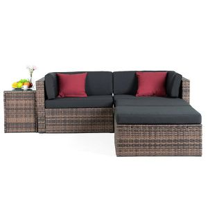 5PCS Rattan Wicker Sofa & Table Set Sectional Cushioned Furniture Patio Outdoor for Sale in New York, NY