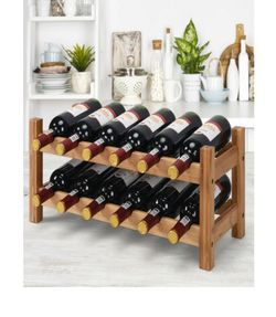 12 Bottles Bamboo Storage Shelf Wine Rack-Natural for Sale in Santa Ana,  CA