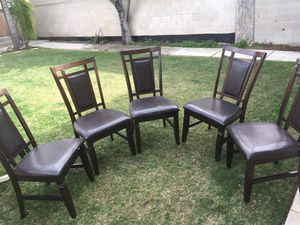 5 wood padded chairs for Sale in San Diego, CA
