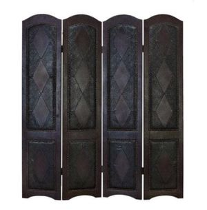 Wood Leather 4 Panel Screen Office Room Divider Wall Privacy Decor for Sale in Austin, TX