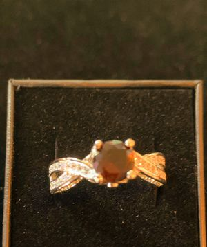 CHOCOLATE GEMSTONE WHITE SAPPHIRE RING SZ 8, 18K WHITE GOLD FILLED for Sale in Spanish Springs, NV