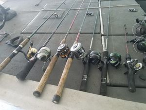 Lot of fishing pole combos All star Daiwa Shakespeare millionaire Ugly Stik graphite Zebco for Sale in DONALDSONVLLE, LA