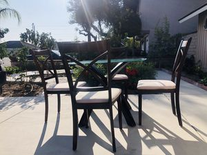 "Glass Dining Table with four Chairs. Dimensions: Table: 30""inches high 40""inches Wide 38""inches length for Sale in Cypress, CA"
