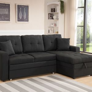 Brand New BLACK Linen Fabric Pull Out Sectional Sofa Bed W/ Storage & Pillows for Sale in Chino Hills, CA