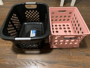 Pink basket & black hamper for Sale in Falls Church, VA