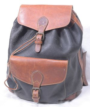 TIMBERLAND HEAVY PEBBLE LEATHER BACKPACK Travel Bag Boho Festival BLACK/BROWN for Sale in Beverly Hills, CA