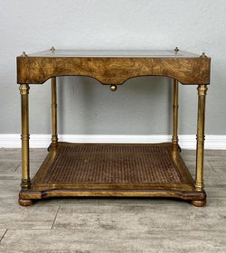 """Vintage burl wood brass and cane side table W 26"""" x D 22"""" x H 21"""" for Sale in Cape Coral,  FL"""