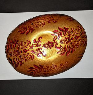 Oval Gold Bowl with Red Designs for Sale in Omaha, NE