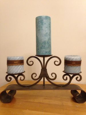 3-slot candle holder with candles for Sale in Richmond, VA