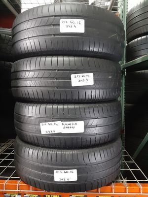 (4) USED TIRES P215/60R16 MICHELIN ENERGY SAVER A/S 216/60R16 ALL SEASON TOURING CAR TIRES 215 60 16 for Sale in Fort Lauderdale, FL