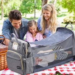 Diaper Bag Backpack with Mosquito Net & Foldable Crib for Sale in Katy,  TX