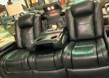 🌼EXCLUSIVE] Party Time Midnight LED Power Reclining Living Room Set with Adjustable Headrest for Sale in College Park,  MD